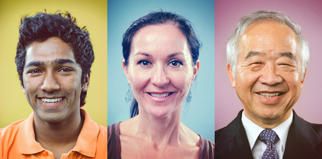 Happy smiling portrait collage collection of multiracial group o